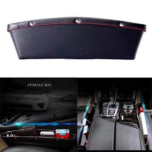 JJOnlineStore–2 Seitentaschen für Autositz, aus Leder, flexibel, Zubehör für Autoinnenraum, zwischen Sitz und Konsole (schwarz) (Unter Dem Sitz Aufbewahrungsbox)