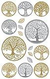 AVERY Zweckform 55654 Metallic Sticker Lebensbaum 14 Aufkleber
