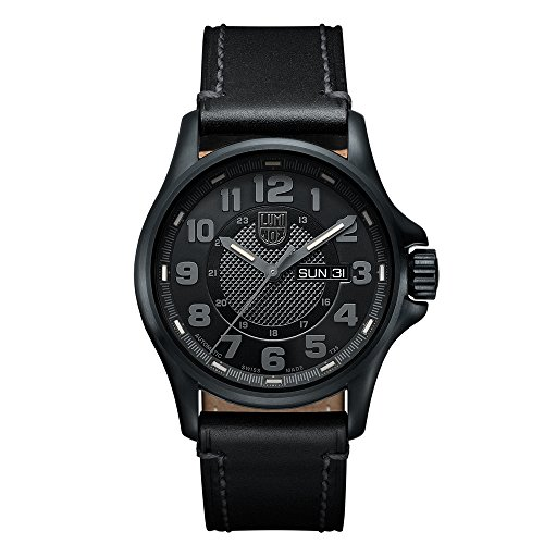 Luminox-Field-Automatic-Day-Date-Mens-Automatic-watch-with-Black-dial-featuring-LLT-Luminox-light-Technology-43-millimeters-Stainless-Steel-case-and-Black-Leather-Strap-XL1801BONV