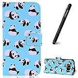 Leder Hülle für Samsung Galaxy S8,Slynmax Lanyard Hülle Flip Case Wallet PU Leder Tasche Wallet Schutzhülle Stand Magnetverschluss Silikon Handytaschen für Samsung Galaxy S8,Viele Pandas