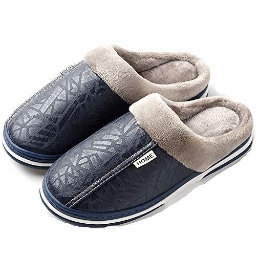 Zapatillas de Estar por casa Mujer Invierno Peluche Cerradas Andar Calienta Pantuflas Slippers Originales Termicas Zapatos(Azul,40/41 EU,25.5CM De talón a Dedo del pie