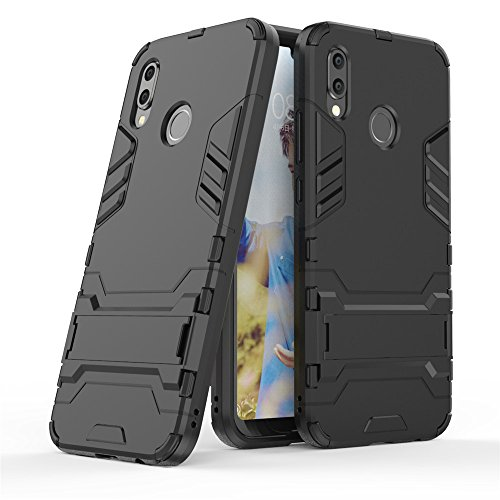 Huawei P20 Lite case,Stylish cover GOGME [Tough Armor Series]Rugged TPU/PC Hybrid Armor, Anti-Scratch PC back panel + Shockproof TPU bumper+Foldable holder,Ultra-thin phone shell for Huawei P20 Lite. black