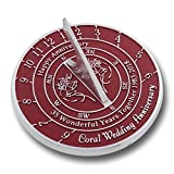 The Metal Foundry 35th Coral Wedding Anniversary 2018 Sundial Gift Idea Is A Great Present For Him, For Her Or For A Couple To Celebrate 35 Years Of Marriage