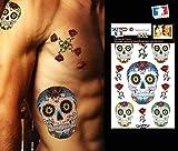 Tatouage ephemere temporaire CALAVERA Têtes de mort mexicaine TATTOO ID XXL hypoallergénique Fabriqué en FRANCE 1 planches 22cm x 14,5cm Homme Femme