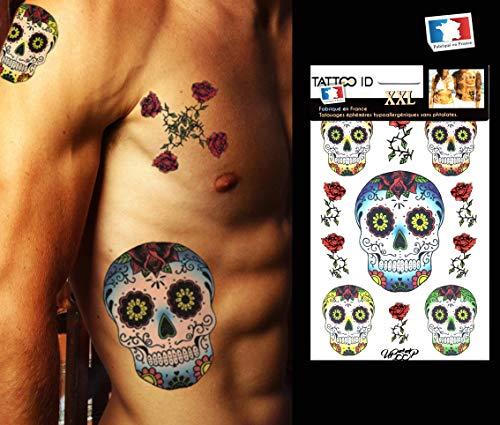 Tattoo ID XXL CALAVERAS Skulls von Mexikanische Tattoo groß Ephemere temporäre Hypoallergen hergestellt in Frankreich 1Weihnachts 22cm x 14,5cm Herren ()