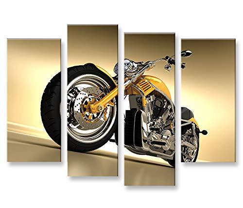 islandburner Bild Bilder auf Leinwand Chopper Motorrad Fat Boy 4er XXL Poster Leinwandbild Wandbild Dekoartikel Wohnzimmer Marke