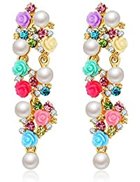 Jewels Galaxy Tantalizing Multicolor Unblemished Pearl Limited Edition Floral Design Stunning Pair Of Drop Earrings...