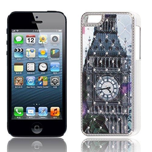 Strass-Dekor Turmuhr Fall-Abdeckung Schwarz für iPhone 5C (Strass 5c-fällen Iphone)