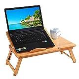 Wgwioo Laptop-Schreibtisch-Justierbare Bambustisch-Faltbares Frühstücks-Umhüllungs-Bett-Behälter mit Kippendem Oberstem Fach,55X35x30cm
