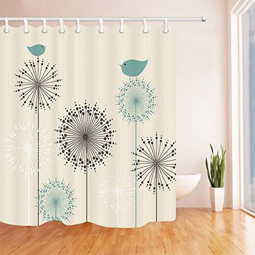 SRJ2018 Cortinas baño Florales para baño Fondo Vintage con pájaros y Flores Diente león Cortina Ducha Tela al Moho 180X180 CM
