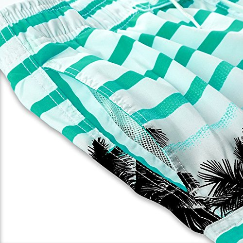Uomo Colorate Strisce Coco Spiaggia Stampati Pantaloncini Turchese