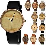 Elegante Pure Time® Designer Damen-Uhr Öko Natur Holz-Uhr Armband Uhr Analog Klassisch Quarz-Uhr Armbanduhr Schwarz Braun Beige Grau Khaki Leder-Armband Holz Ziffernblatt Rose-Gold (schwarz)