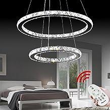 VINGOR 50W 2 Ringe LED Deckenleuchte Kristall Dimmbar Deckenlampe Wohnraum Hngeleuchte Pendelleuchte Mit Fernbedienung Wohnzimmer