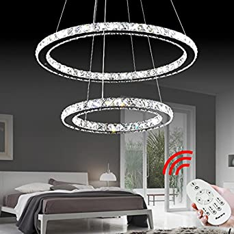 VINGO® 50W 2 Ringe LED Deckenleuchte Kristall Dimmbar Deckenlampe Wohnraum  Hängeleuchte Pendelleuchte Mit Fernbedienung Wohnzimmer Deckenleuchte ...