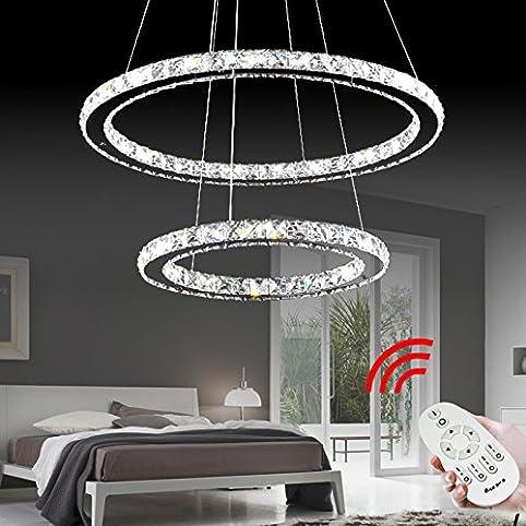 vingo 50w 2 ringe led deckenleuchte kristall dimmbar deckenlampe wohnraum hngeleuchte pendelleuchte mit fernbedienung wohnzimmer deckenleuchte - Hangeleuchte Wohnzimmer Led