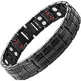 Willis Judd Mens New Four Element All Black Titanium Double Row Magnetic Bracelet In Black Velvet Gift Box + Free Link Removal Tool
