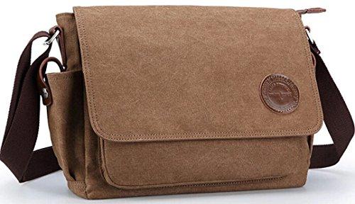 KB-10 sac d'épaule en toile bonne finition sac à bandoulière sac de loisir pour homme (café)