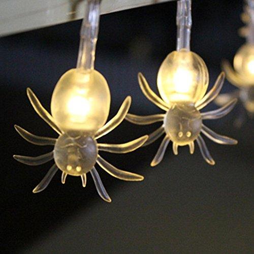 DOLDOA ☀『 Halloween Licht 』☀ 1.2M 10LED Geist Augen/Spinnen Schnur Lichter für Halloween-Partei-Dekor Halloween-Schnur-Licht (Spinnen, Gelb)