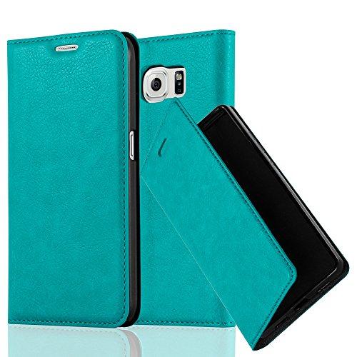 Cadorabo Hülle für Samsung Galaxy S6 - Hülle in Petrol TÜRKIS – Handyhülle mit Magnetverschluss, Standfunktion und Kartenfach - Case Cover Schutzhülle Etui Tasche Book Klapp Style