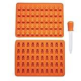 Dikewang 1 x 50 Gummibären-Silikon-Eiswürfelform, auch geeignet für Schokolade, Süßigkeiten, Eis und Gelee, Orange, Einheitsgröße