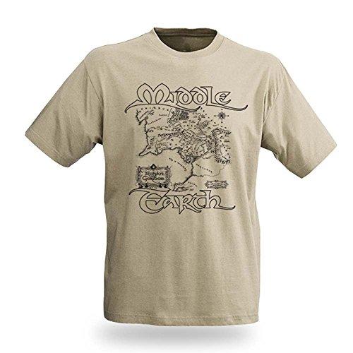 Il Signore degli Anelli - T shirt - Mappa della Terra di Mezzo - Stampa T shirt - M
