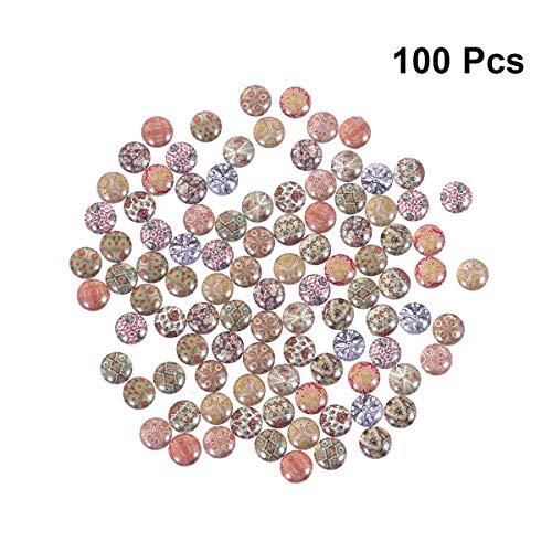 Healifty 100 Stücke Mixed Mosaik Fliesen 10mm Runde Glasmosaik Gedruckt Glas Oval Edelsteine   für Schmuck DIY Handwerk