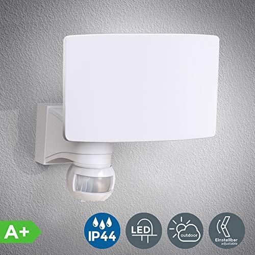 Faro LED esterno con sensore di movimento e crepuscolare, luce bianca naturale 4000K, luce di sicurezza con accensione automatica, 20W, IP44, lampada da parete, faretto bianco, 230V