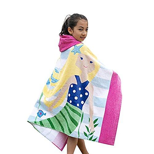 Gifts Treat Kinder Handtuch mit Kapuze, Jungen Mädchen saugfähigen Baumwolle Bademantel Decke, Strand Bad Schwimmen Handtuch (Meerjungfrau, einheitsgröße)