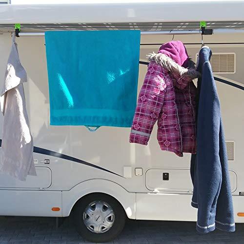 Set Haken Öse für Markisen Fiamma, Omnistor, Thule mit Kederschiene für Wohnmobil, Caravan, Camping (Klettband+Haken geschlossen für Kederschiene 7mm, Neon grün, 3)