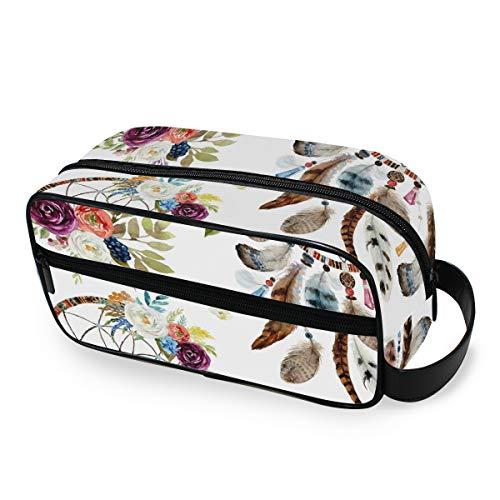 LZXO Bolsa de cosméticos para colgar, diseño étnico, atrapasueños, flores, bolsa de aseo de viaje, bolsa de maquillaje, profesional, portátil, bolsa de belleza para hombres, mujeres y niños.