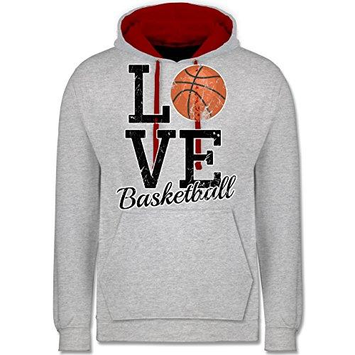 Basketball - Love Basketball - Kontrast Hoodie Grau Meliert/Rot