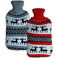 2x große Wärmeflasche im Weihnachtsdesign | hochwertige Strick Wärmekissen mit 2L Füllvermögen | Bettflasche flauschiger... preisvergleich bei billige-tabletten.eu