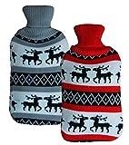 2x große Wärmeflasche im Weihnachtsdesign   hochwertige Strick Wärmekissen hohes Füllvermögen   Bettflasche flauschiger Bezug für Winter oder Geschenk zu Weihnachten für Erwachsene oder Kinder