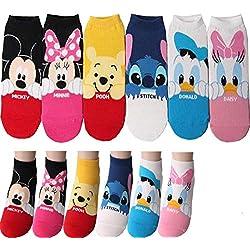 Disney Dessin animé Personnage Sneaker Chaussettes Coupe-Bas avec Pochette Cadeau Pack 6 Paires Chaussettes de Cheville - Mickey Mouse, Minnie Mouse, Donald Duck, Daisy Duck, Winnie l'ourson, Stitch