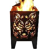 Feuerkorb Feuersäule Design: Wolf Gr. XXL 35,5x37x75cm, 14,5kg aus 2mm Rohstahl