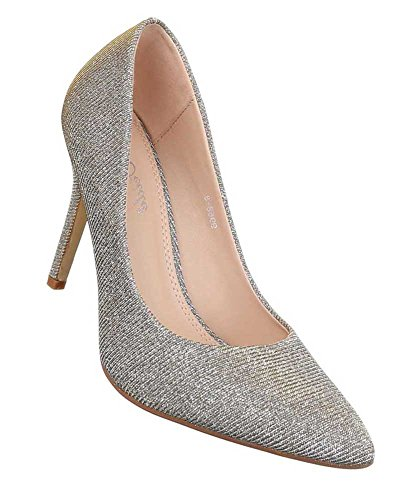 Damen Pumps Schuhe High Heels Stiletto Abendschuhe Club Party Schwarz Gold Rot Silber 35 36 37 38 39 40 41 Gold
