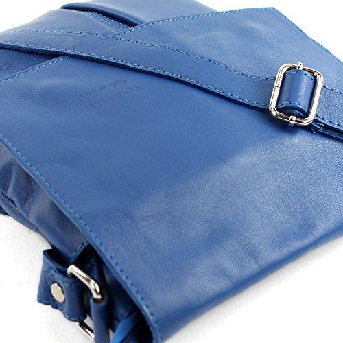 modamoda de - ital. Ledertasche Schultertasche Crossover Umhängetasche Nappaleder groß T75 Blau