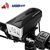 DONPEREGRINO LED Faro & Bocina Bicicleta 2 en 1, Luz Delantera Bici Impermeable IPX 4 y USB Recargable 1800 mAh