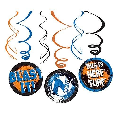Neu: Lot de 6 tourbillons décoratifs pour Anniversaire d'enfant et fête à thème, Hasbro Guns N-Strike Elite Super Soaker Mottoparty Enfants Anniversaire Decoration Swirl