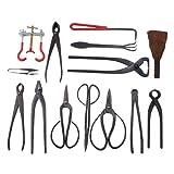 Outils pour Bonsaï complet - IMAGE14 Pièces Outils de Jardinage - Ciseaux professionnels, Brosse - Outils à la main avec étui pour débutant