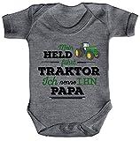 Vatertag Landwirt Trecker Strampler Bio Baumwoll Baby Body kurzarm Papa - Mein Held fährt Traktor, Größe: 6-12 Monate,Heather Grey Melange