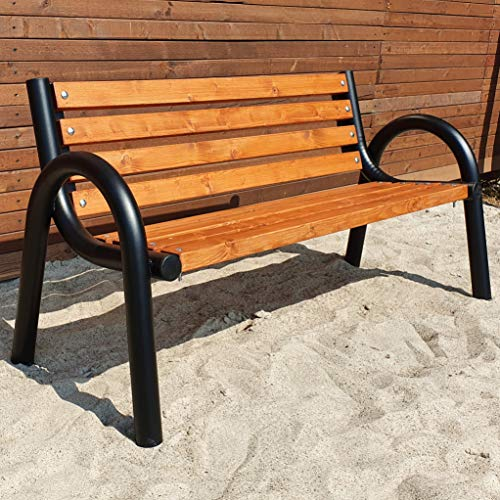 Gartenbank Parkbank Holzbank Massiv Sitzbank Garten Balkon Bank Holz Metall Wetterfest Gartenmöbel...