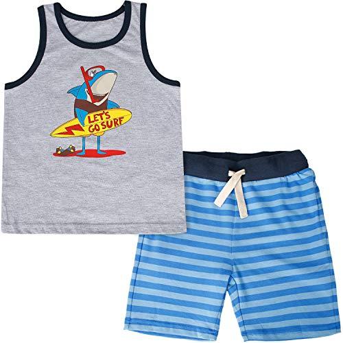 CARETOO Baby-Jungen Bekleidungsset Baumwolle Sommerkleidung Set Dinosaurier/Krake/Monster/Hai Drucken Kinder Tank Tops + Kurze Hosen Pyjama für 1-5 Jahre - Jahr-etiketten