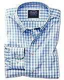 Bügelfreies Classic Fit Hemd aus Popeline in Himmelblau mit Gingham-Karos Knopfmanschette