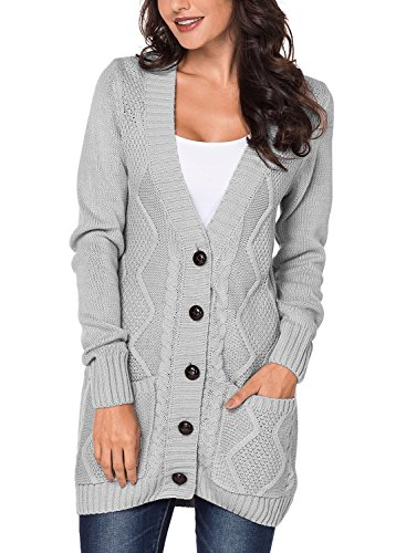 Happy Sailed Damen Langarm Strickjacke Cardigan Strickcardigan mit Knopf S-XXL, Grau, Small(EU36-38)
