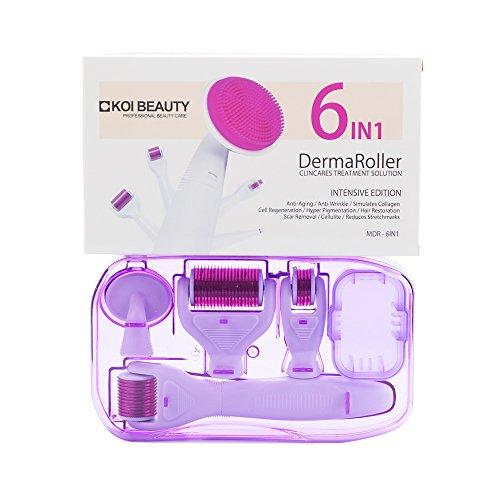 6 en 1 Kit de soins de la peau, Koi Beauty peau Derma Roller pour œil visage et corps, 0.5 1.0 1.5 Rouleau, les vergetures, les rides, cicatrices d'acné, perte de cheveux, professionnel d'instructions