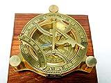 Bussola con meridiana in ottone, 10,2cm, completamente funzionale, bussola d'antiquariato