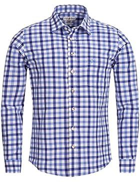 Almsach Trachtenhemd Slim Fit Zweifarbig in Blau und Hellblau