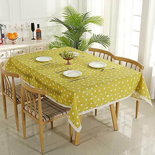 BH-JJSMGS Frische Haupttischdecke, Baumwollleinen-Tischdecke wasserdicht und ölbeständiges Gelb 140 * 200