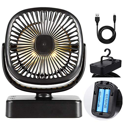 Harddo Camping Battery Table Fan, Portable 2 en 1 Battery Powered, Rechargeable USB Tent Camping Lighting Fan, 360 ° Rotatable, Quiet Fan for Home, Camping